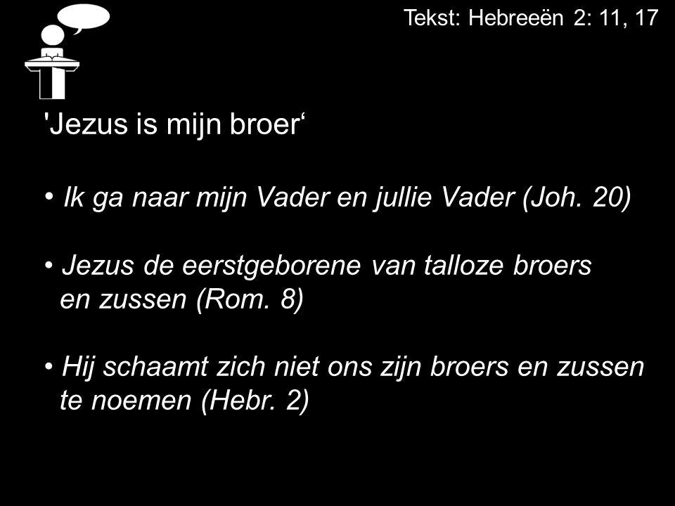 Tekst: Hebreeën 2: 11, 17 'Jezus is mijn broer' Ik ga naar mijn Vader en jullie Vader (Joh. 20) Jezus de eerstgeborene van talloze broers en zussen (R