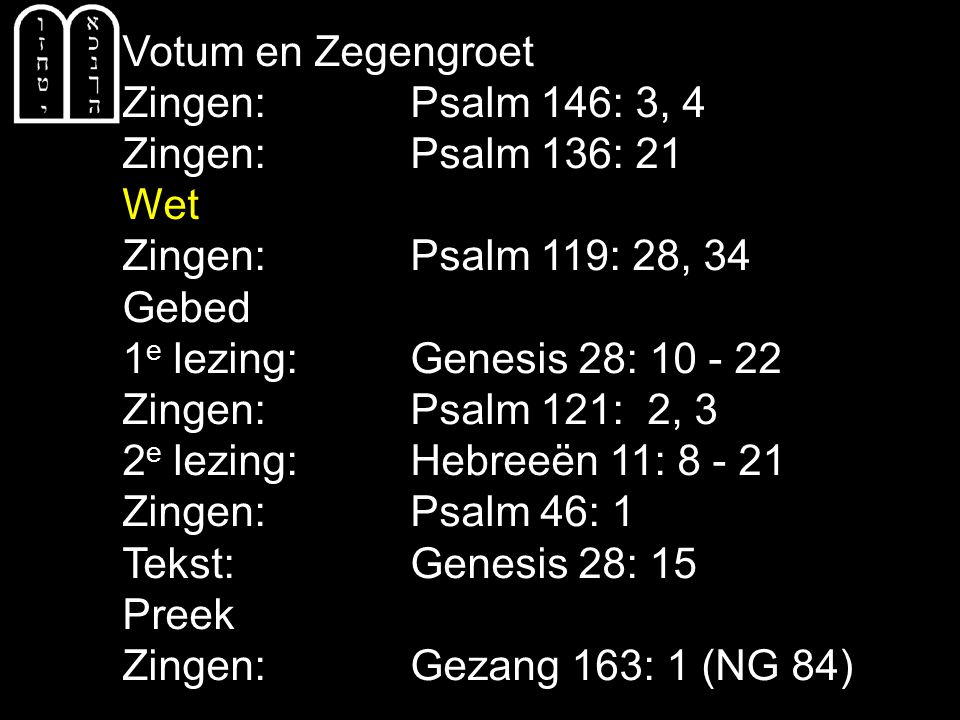 COLLECTE Vandaag de 1e collecte is voor de Evangelisatie de 2e collecte is voor de Kerk Volgende week de 1e collecte is voor de Diakonie de 2e collecte is voor de Kerk Bloemenbezorging: vandaag: Bart Meijer volgende week: Iris v/d Zwaag Na de collecte zingen we: Gezang 163: 2, 3 (NG 84)