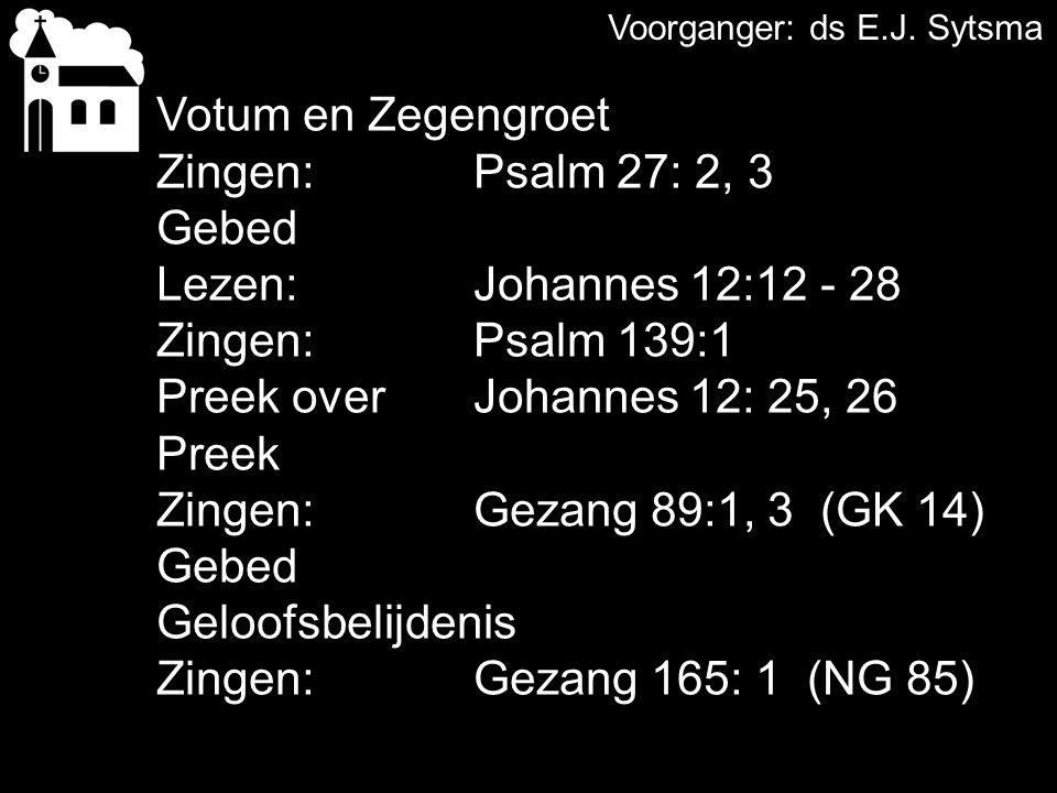COLLECTE Vandaag; de 1e collecte is voor de diakonie de 2e collecte is voor de kerk Volgende week de 1e collecte is voor de diakonie SGJ de 2e collecte is voor de kerk Na de collecte zingen we: Gezang 68:1, 2 (GK 25)