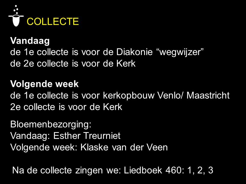 """COLLECTE Vandaag de 1e collecte is voor de Diakonie """"wegwijzer"""" de 2e collecte is voor de Kerk Volgende week de 1e collecte is voor kerkopbouw Venlo/"""
