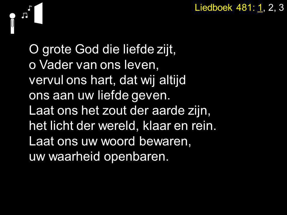 Liedboek 481: 1, 2, 3 O grote God die liefde zijt, o Vader van ons leven, vervul ons hart, dat wij altijd ons aan uw liefde geven.