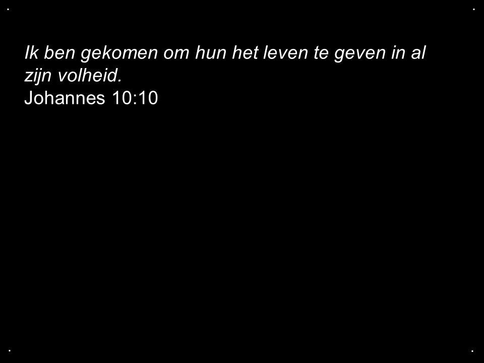 .... Ik ben gekomen om hun het leven te geven in al zijn volheid. Johannes 10:10