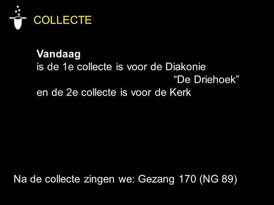 """COLLECTE Vandaag is de 1e collecte is voor de Diakonie """"De Driehoek"""" en de 2e collecte is voor de Kerk Na de collecte zingen we: Gezang 170 (NG 89)"""