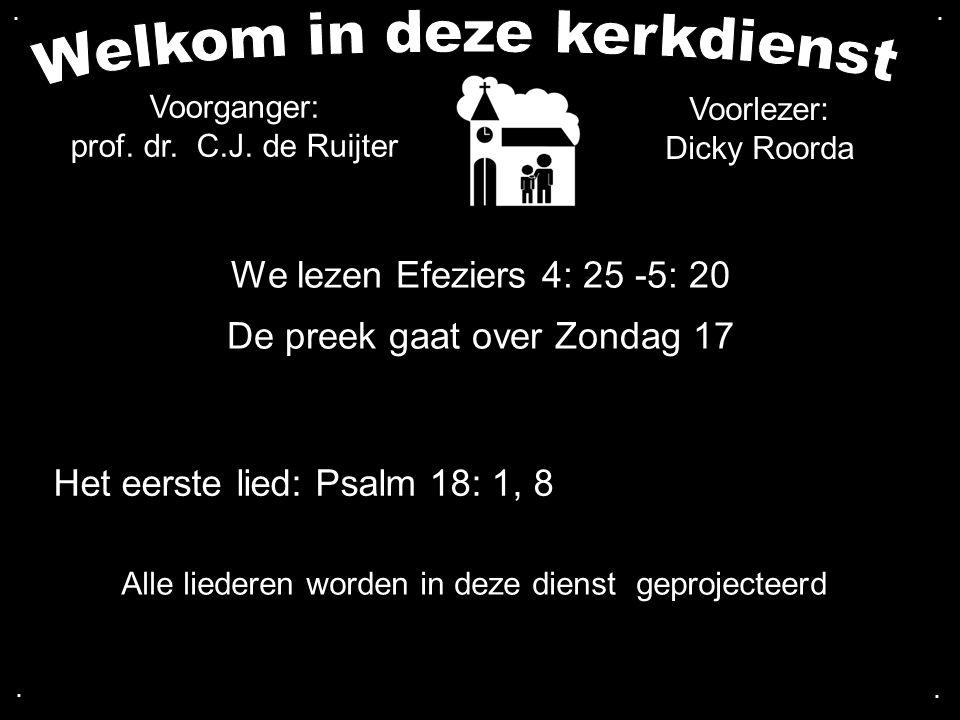 We lezen Efeziers 4: 25 -5: 20 De preek gaat over Zondag 17 Het eerste lied: Psalm 18: 1, 8.... Alle liederen worden in deze dienst geprojecteerd Voor