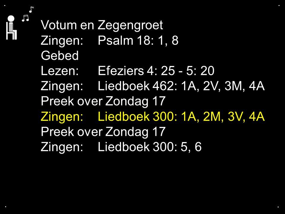 .... Votum en Zegengroet Zingen:Psalm 18: 1, 8 Gebed Lezen: Efeziers 4: 25 - 5: 20 Zingen:Liedboek 462: 1A, 2V, 3M, 4A Preek over Zondag 17 Zingen:Lie