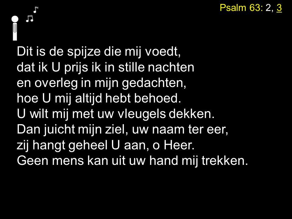 Psalm 63: 2, 3 Dit is de spijze die mij voedt, dat ik U prijs ik in stille nachten en overleg in mijn gedachten, hoe U mij altijd hebt behoed. U wilt