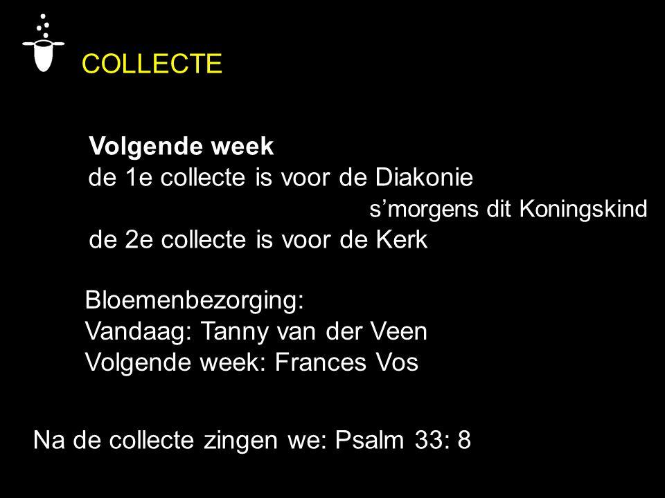 Bloemenbezorging: Vandaag: Tanny van der Veen Volgende week: Frances Vos Na de collecte zingen we: Psalm 33: 8 COLLECTE Volgende week de 1e collecte i