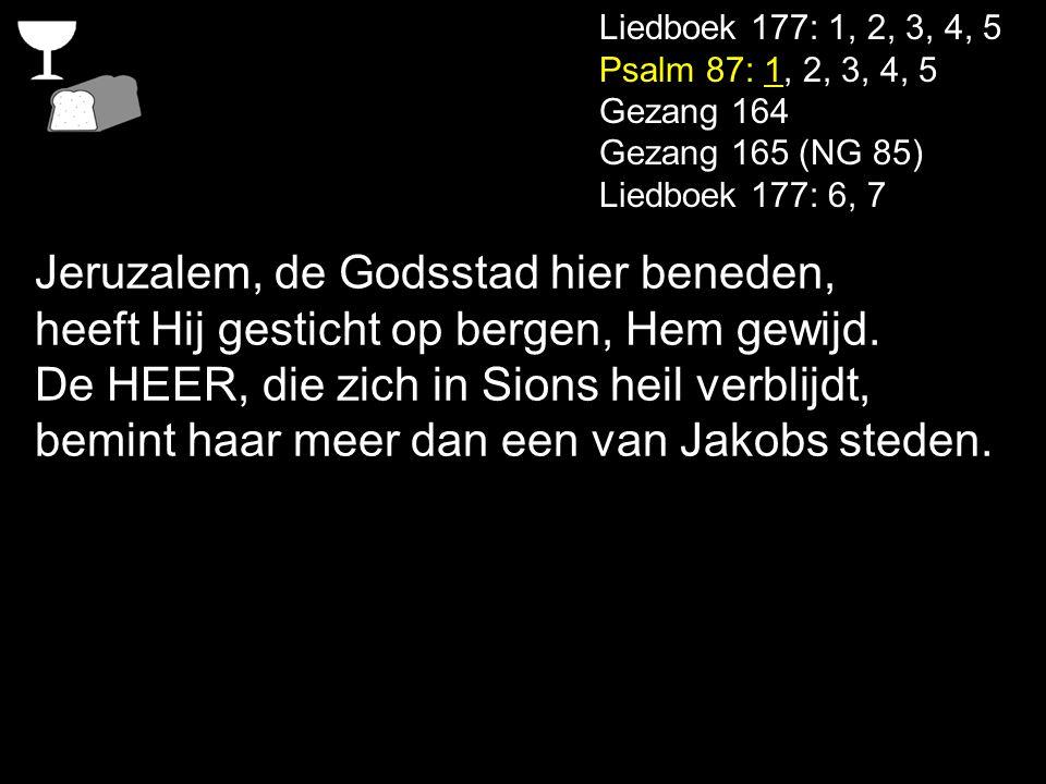 Liedboek 177: 1, 2, 3, 4, 5 Psalm 87: 1, 2, 3, 4, 5 Gezang 164 Gezang 165 (NG 85) Liedboek 177: 6, 7 Jeruzalem, de Godsstad hier beneden, heeft Hij ge