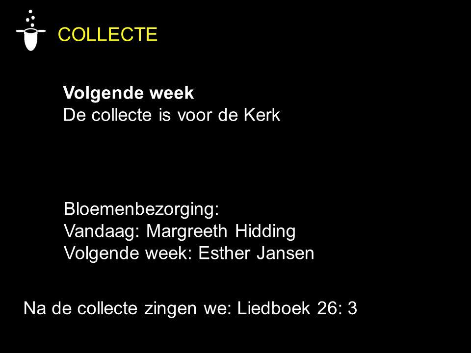 COLLECTE Volgende week De collecte is voor de Kerk Bloemenbezorging: Vandaag: Margreeth Hidding Volgende week: Esther Jansen Na de collecte zingen we: