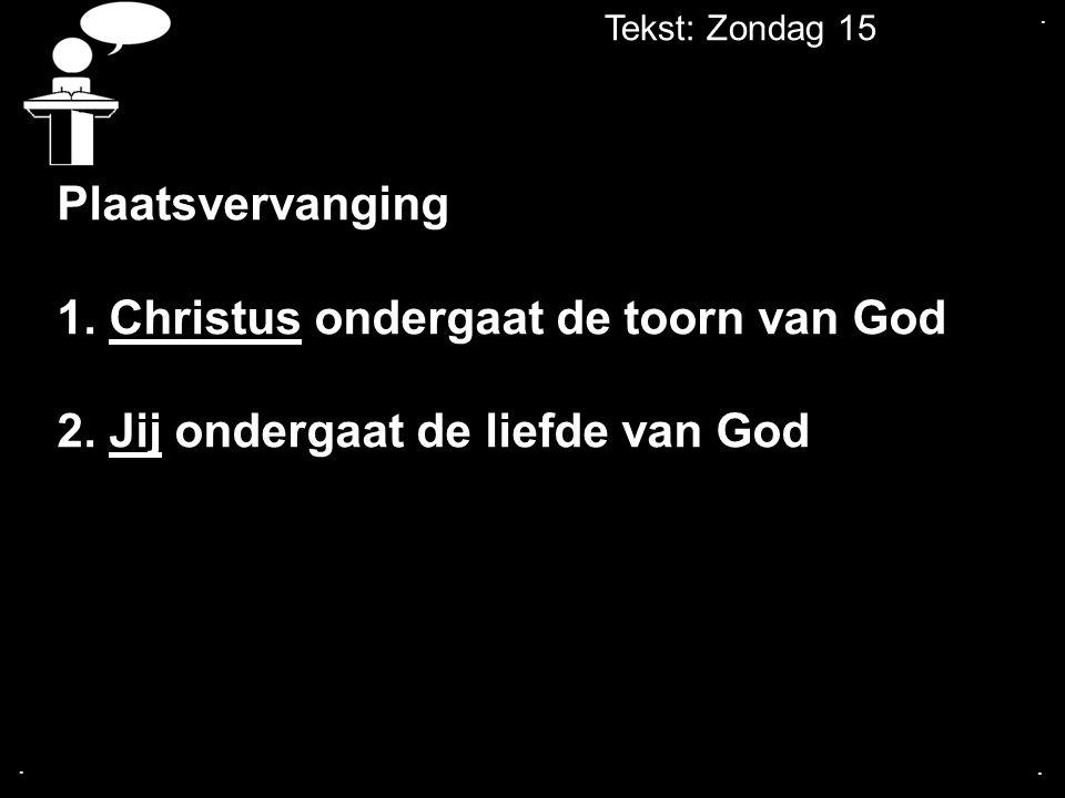 Tekst: Zondag 15... Plaatsvervanging 1. Christus ondergaat de toorn van God 2. Jij ondergaat de liefde van God