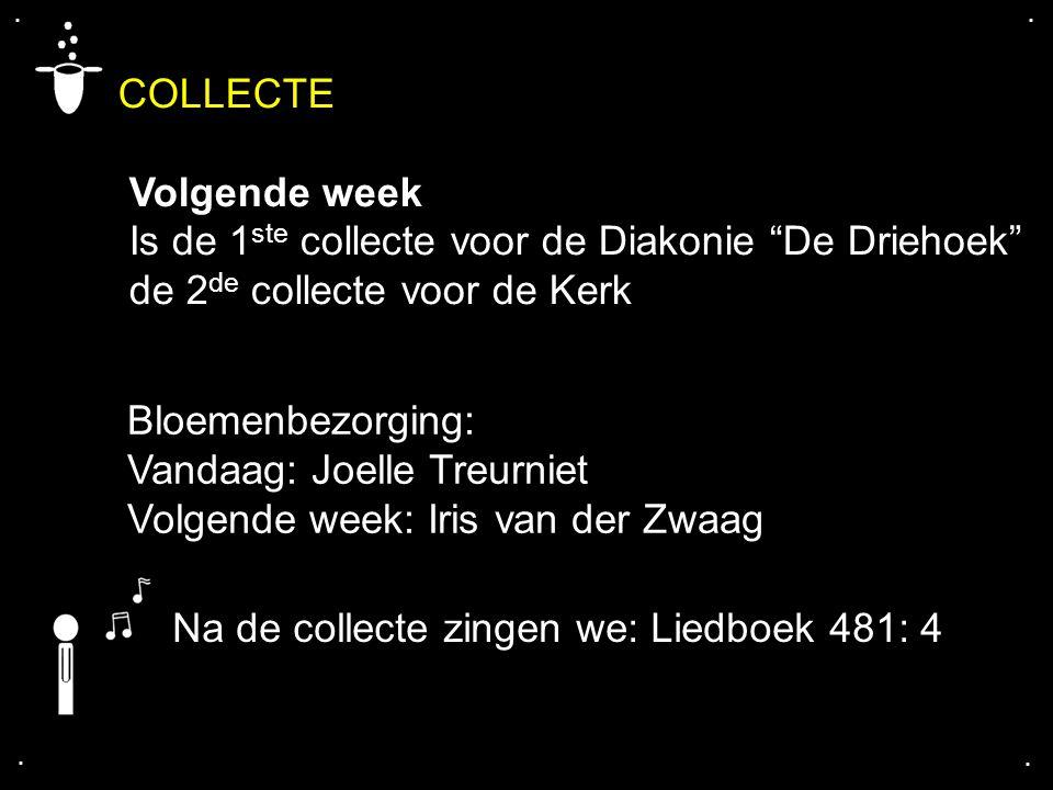 """COLLECTE Volgende week Is de 1 ste collecte voor de Diakonie """"De Driehoek"""" de 2 de collecte voor de Kerk.... Bloemenbezorging: Vandaag: Joelle Treurni"""