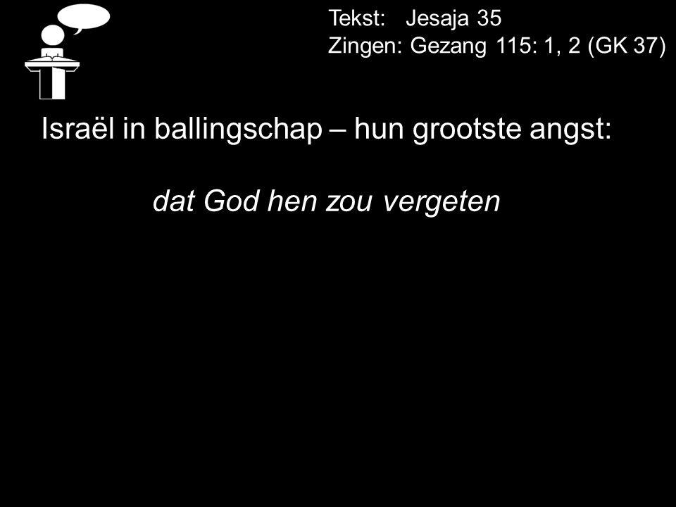 Tekst: Jesaja 35 Zingen: Gezang 115: 1, 2 (GK 37) Israël in ballingschap – hun grootste angst: dat God hen zou vergeten