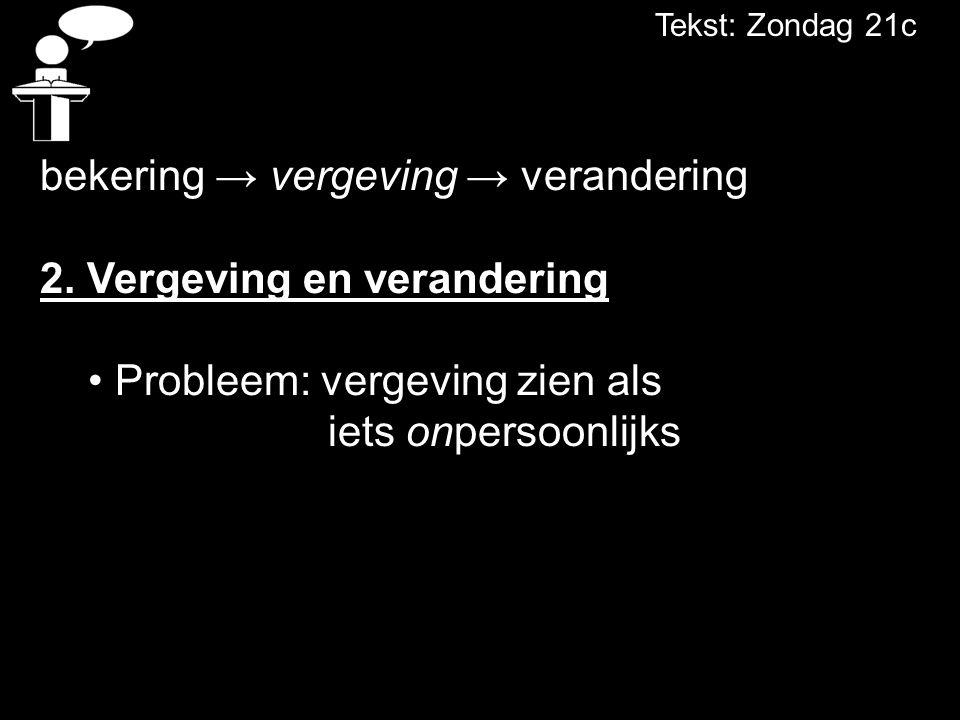 Tekst: Zondag 21c bekering → vergeving → verandering 2.