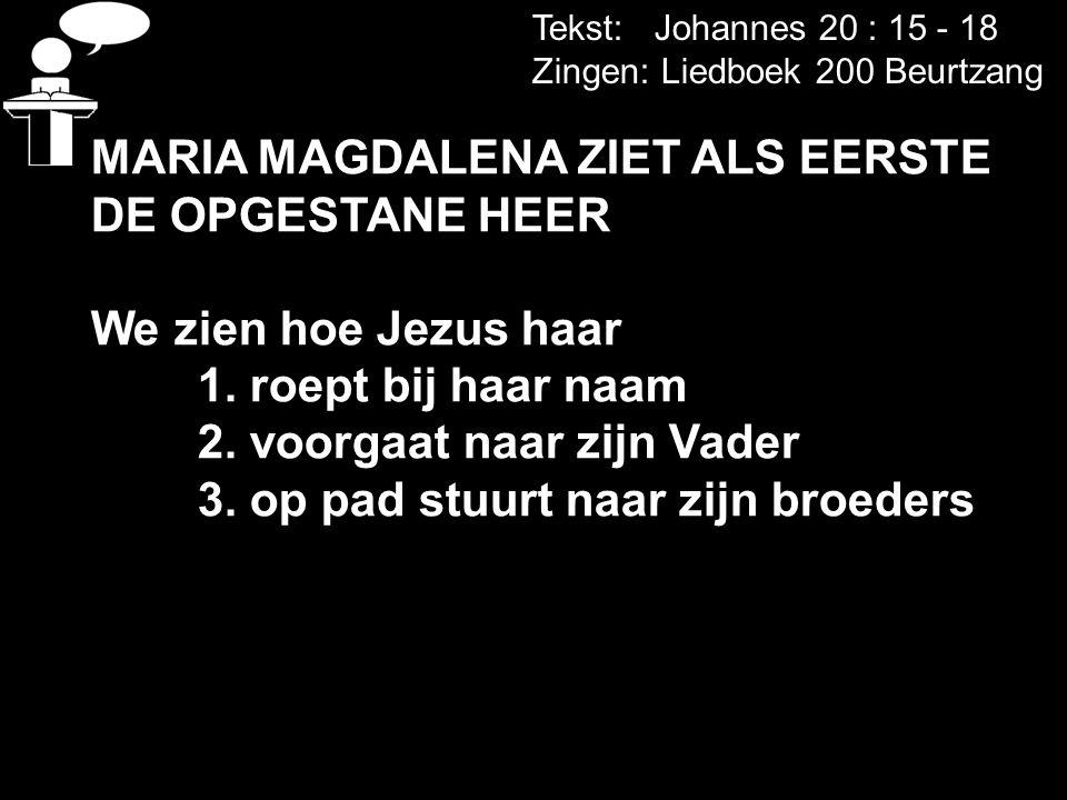 Tekst: Johannes 20 : 15 - 18 Zingen: Liedboek 200 Beurtzang MARIA MAGDALENA ZIET ALS EERSTE DE OPGESTANE HEER We zien hoe Jezus haar 1. roept bij haar