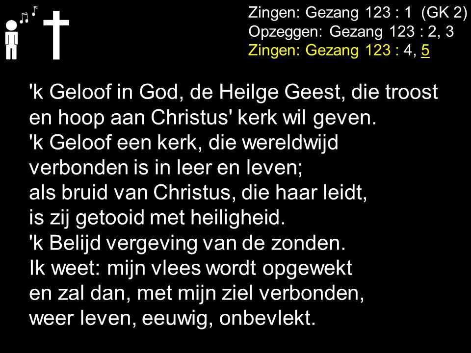 Zingen: Gezang 123 : 1 (GK 2) Opzeggen: Gezang 123 : 2, 3 Zingen: Gezang 123 : 4, 5 'k Geloof in God, de Heilge Geest, die troost en hoop aan Christus