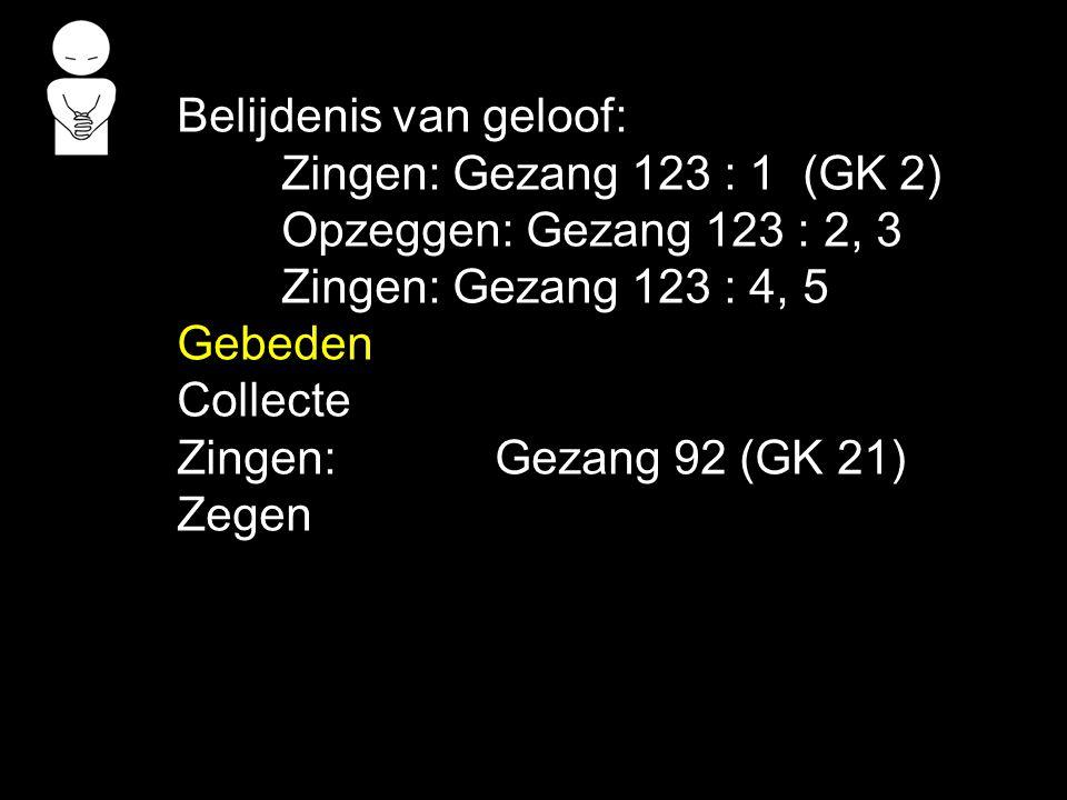 Belijdenis van geloof: Zingen: Gezang 123 : 1 (GK 2) Opzeggen: Gezang 123 : 2, 3 Zingen: Gezang 123 : 4, 5 Gebeden Collecte Zingen:Gezang 92 (GK 21) Z