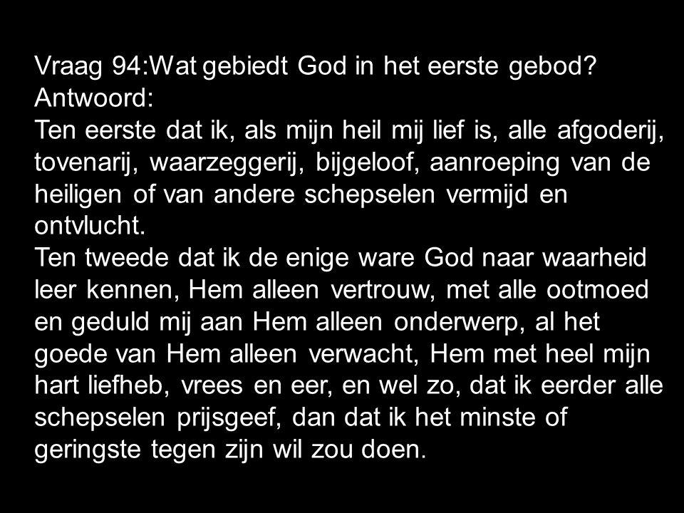 Vraag 94:Wat gebiedt God in het eerste gebod? Antwoord: Ten eerste dat ik, als mijn heil mij lief is, alle afgoderij, tovenarij, waarzeggerij, bijgelo