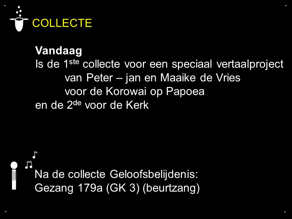 .... COLLECTE Vandaag Is de 1 ste collecte voor een speciaal vertaalproject van Peter – jan en Maaike de Vries voor de Korowai op Papoea en de 2 de vo