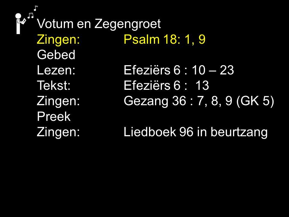 Votum en Zegengroet Zingen:Psalm 18: 1, 9 Gebed Lezen: Efeziërs 6 : 10 – 23 Tekst: Efeziërs 6 : 13 Zingen:Gezang 36 : 7, 8, 9 (GK 5) Preek Zingen:Liedboek 96 in beurtzang