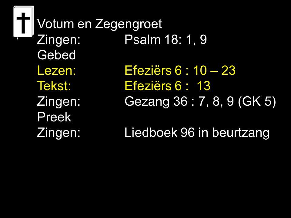 Votum en Zegengroet Zingen:Psalm 18: 1, 9 Gebed Lezen: Efeziërs 6 : 10 – 23 Tekst: Efeziërs 6 : 13 Zingen:Gezang 36 : 7, 8, 9 (GK 5) Preek Zingen:Lied
