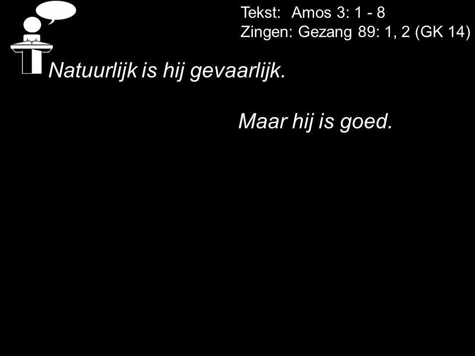 Tekst: Amos 3: 1 - 8 Zingen: Gezang 89: 1, 2 (GK 14) Natuurlijk is hij gevaarlijk. Maar hij is goed.