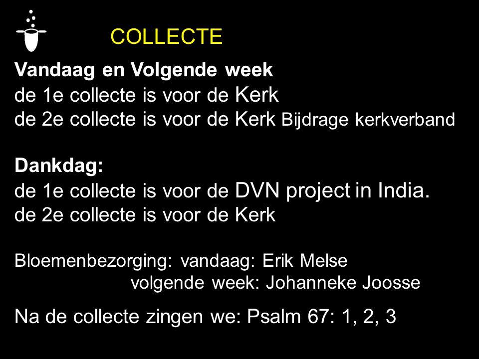 COLLECTE Vandaag en Volgende week de 1e collecte is voor de Kerk de 2e collecte is voor de Kerk Bijdrage kerkverband Dankdag: de 1e collecte is voor d