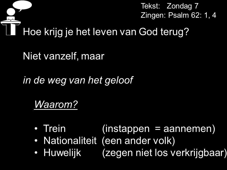 Tekst: Zondag 7 Zingen: Psalm 62: 1, 4 Hoe krijg je het leven van God terug? Niet vanzelf, maar in de weg van het geloof Waarom? Trein (instappen = aa