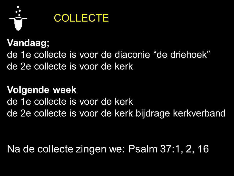"""COLLECTE Vandaag; de 1e collecte is voor de diaconie """"de driehoek"""" de 2e collecte is voor de kerk Volgende week de 1e collecte is voor de kerk de 2e c"""