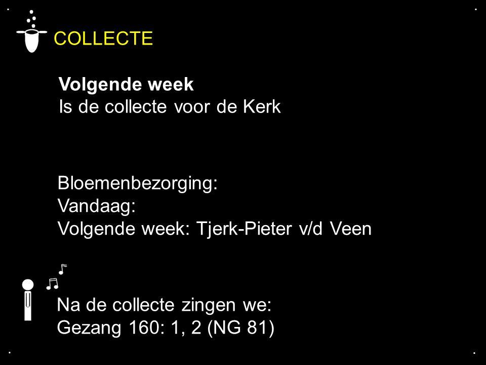 .... COLLECTE Volgende week Is de collecte voor de Kerk Bloemenbezorging: Vandaag: Volgende week: Tjerk-Pieter v/d Veen Na de collecte zingen we: Geza