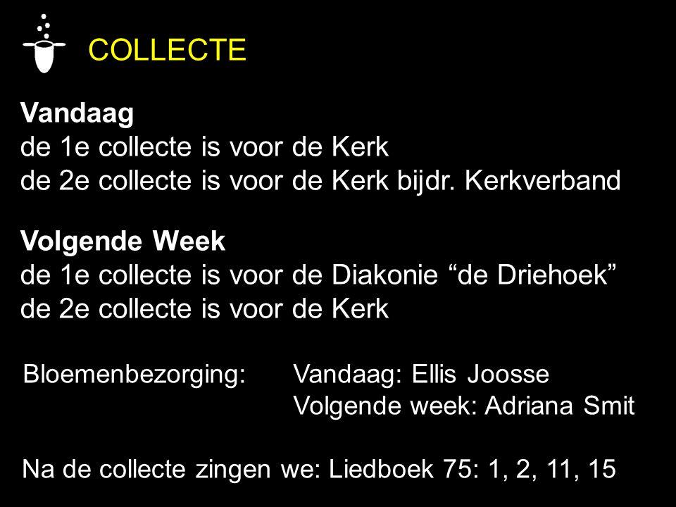 COLLECTE Vandaag de 1e collecte is voor de Kerk de 2e collecte is voor de Kerk bijdr.