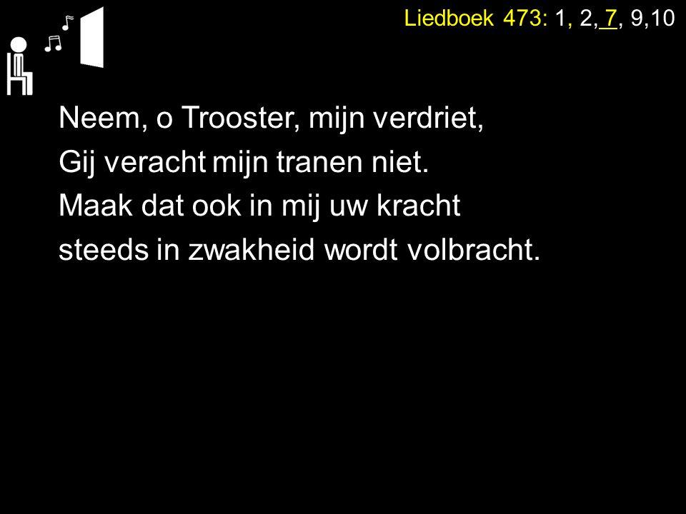 Neem, o Trooster, mijn verdriet, Gij veracht mijn tranen niet. Maak dat ook in mij uw kracht steeds in zwakheid wordt volbracht. Liedboek 473: 1, 2, 7