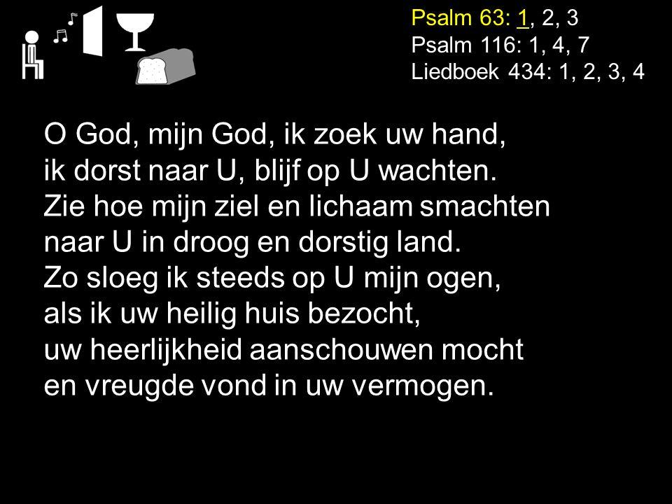 Psalm 63: 1, 2, 3 Psalm 116: 1, 4, 7 Liedboek 434: 1, 2, 3, 4 O God, mijn God, ik zoek uw hand, ik dorst naar U, blijf op U wachten. Zie hoe mijn ziel
