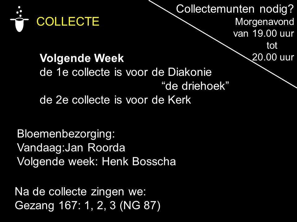 """Bloemenbezorging: Vandaag:Jan Roorda Volgende week: Henk Bosscha COLLECTE Volgende Week de 1e collecte is voor de Diakonie """"de driehoek"""" de 2e collect"""