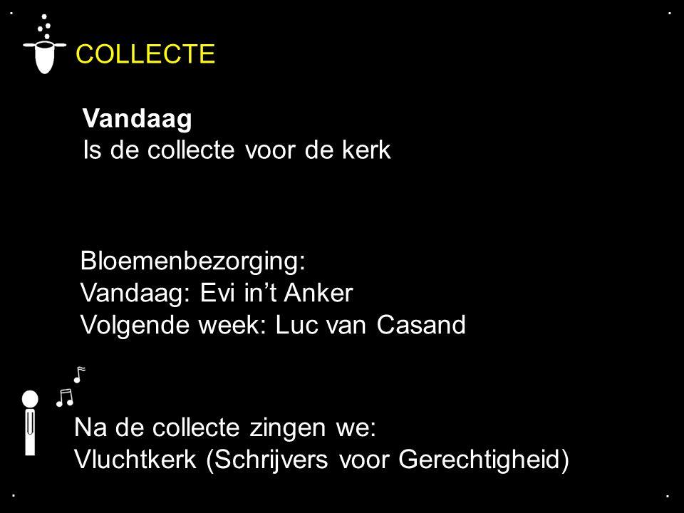 .... COLLECTE Vandaag Is de collecte voor de kerk Bloemenbezorging: Vandaag: Evi in't Anker Volgende week: Luc van Casand Na de collecte zingen we: Vl