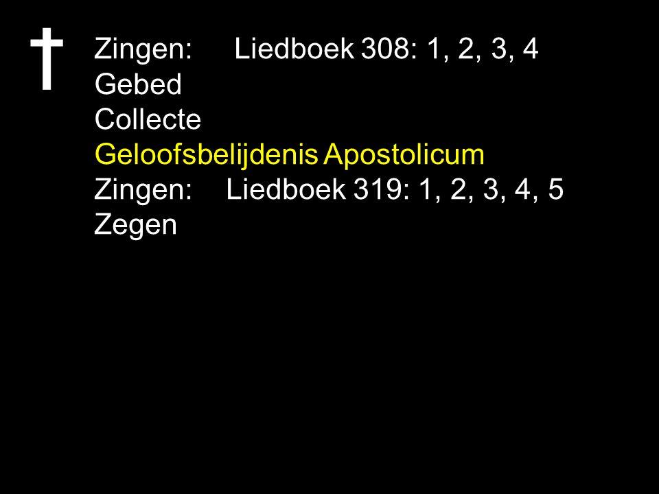 Zingen: Liedboek 308: 1, 2, 3, 4 Gebed Collecte Geloofsbelijdenis Apostolicum Zingen:Liedboek 319: 1, 2, 3, 4, 5 Zegen