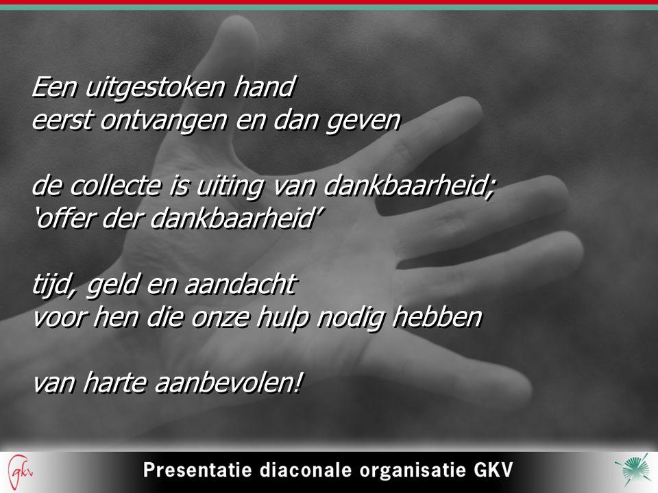 Een uitgestoken hand eerst ontvangen en dan geven de collecte is uiting van dankbaarheid; 'offer der dankbaarheid' tijd, geld en aandacht voor hen die