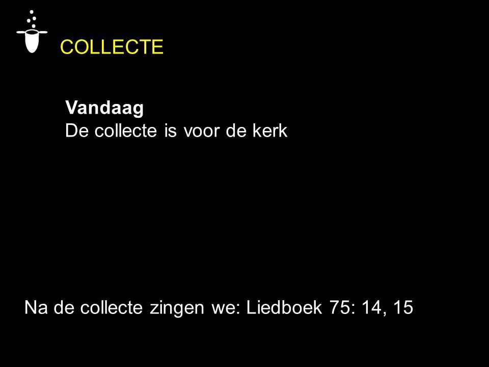 COLLECTE Vandaag De collecte is voor de kerk Na de collecte zingen we: Liedboek 75: 14, 15
