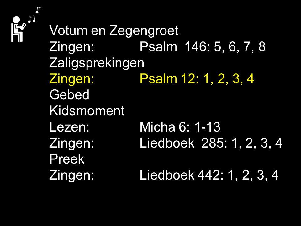Tekst: Micha 6: 8 Schriftlezing: Micha 6: 1-13 Amenlied:Liedboek 442: 1, 2, 3, 4 Er is maar één levend wezen dat God in deze wereld - kan wijzen op onrecht - kan vragen recht te doen.