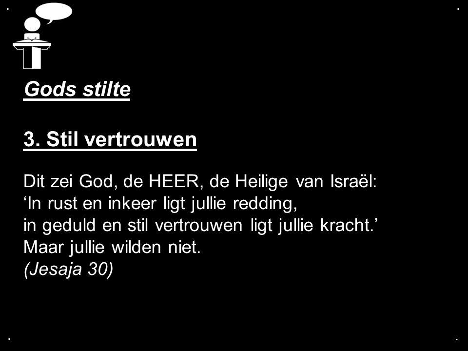 .... Gods stilte 3. Stil vertrouwen Dit zei God, de HEER, de Heilige van Israël: 'In rust en inkeer ligt jullie redding, in geduld en stil vertrouwen