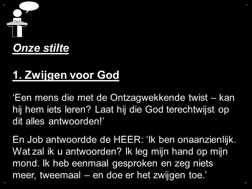 .... Onze stilte 1. Zwijgen voor God 'Een mens die met de Ontzagwekkende twist – kan hij hem iets leren? Laat hij die God terechtwijst op dit alles an