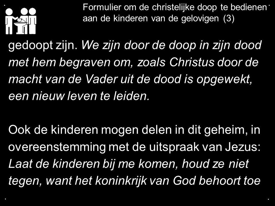 .... Formulier om de christelijke doop te bedienen aan de kinderen van de gelovigen (3) gedoopt zijn. We zijn door de doop in zijn dood met hem begrav