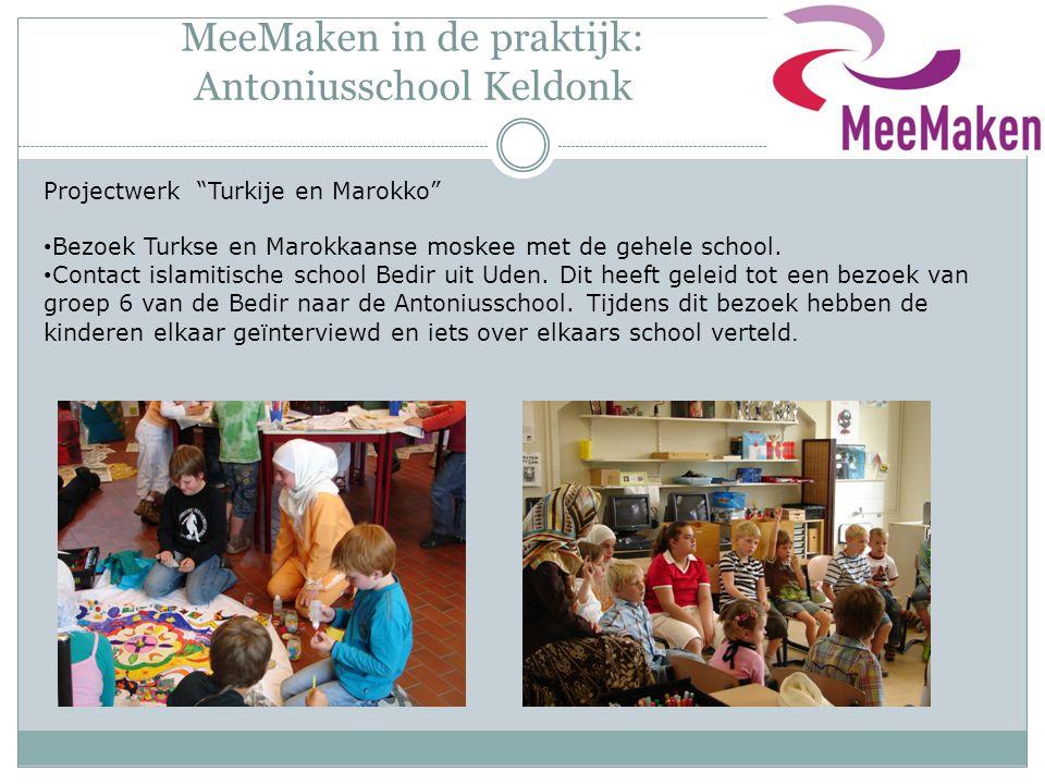 """MeeMaken in de praktijk: Antoniusschool Keldonk Projectwerk """"Turkije en Marokko"""" Bezoek Turkse en Marokkaanse moskee met de gehele school. Contact isl"""