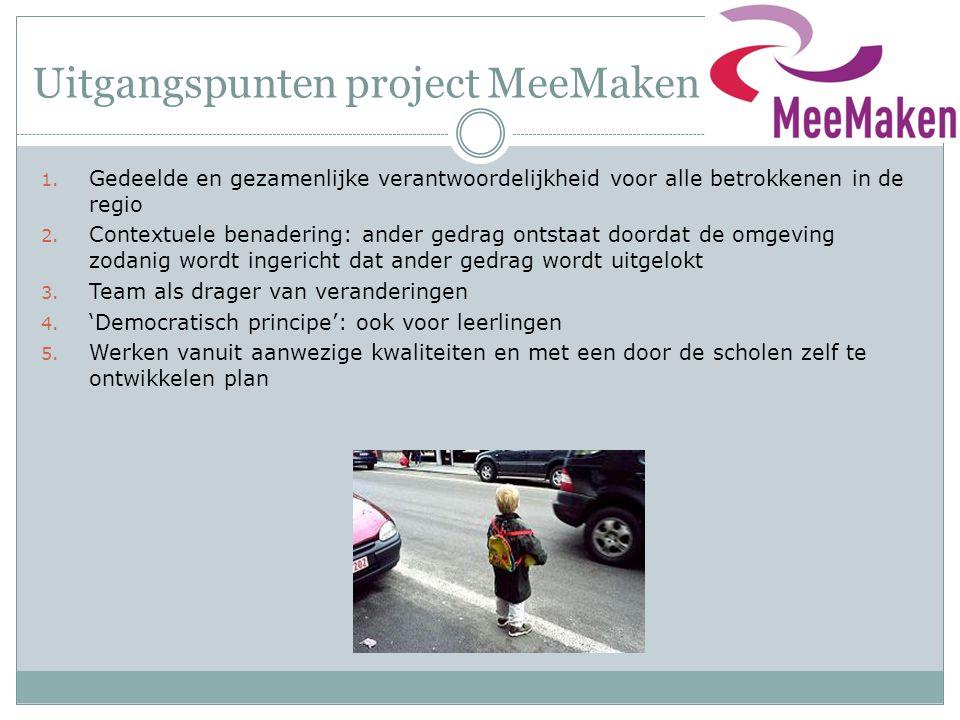 Uitgangspunten project MeeMaken 1. Gedeelde en gezamenlijke verantwoordelijkheid voor alle betrokkenen in de regio 2. Contextuele benadering: ander ge