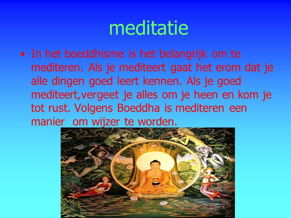 meditatie In het boeddhisme is het belangrijk om te mediteren. Als je mediteert gaat het erom dat je alle dingen goed leert kennen. Als je goed medite