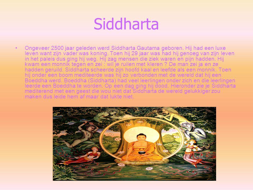 Siddharta Ongeveer 2500 jaar geleden werd Siddharta Gautama geboren. Hij had een luxe leven want zijn vader was koning. Toen hij 29 jaar was had hij g