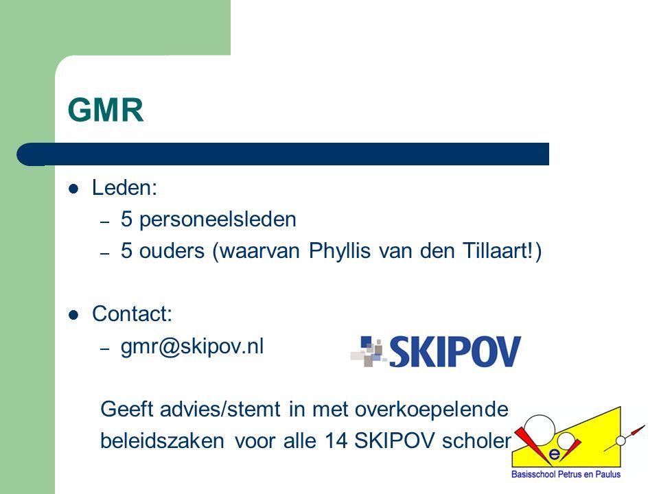 GMR Leden: – 5 personeelsleden – 5 ouders (waarvan Phyllis van den Tillaart!) Contact: – gmr@skipov.nl Geeft advies/stemt in met overkoepelende beleid