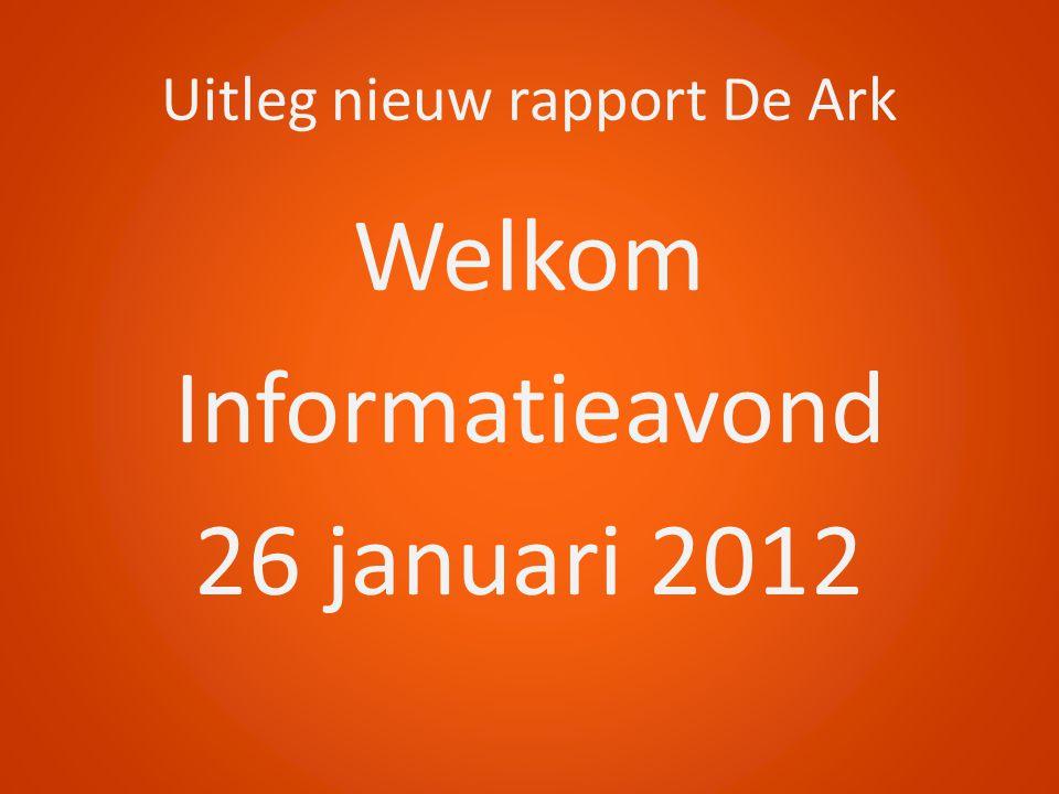 Uitleg nieuw rapport De Ark Welkom Informatieavond 26 januari 2012