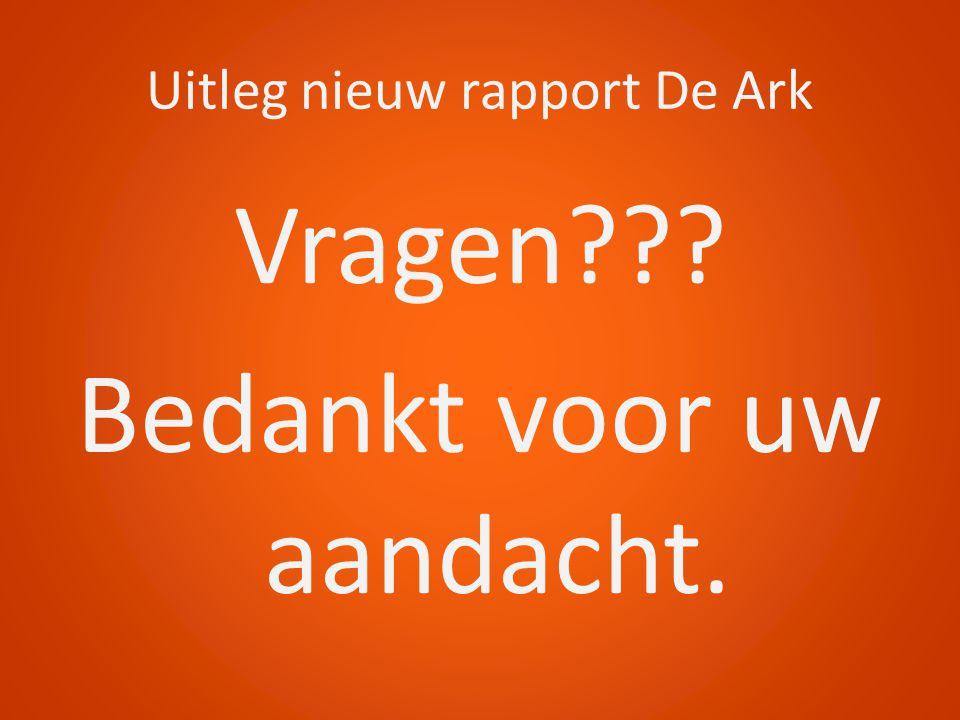 Uitleg nieuw rapport De Ark Vragen??? Bedankt voor uw aandacht.