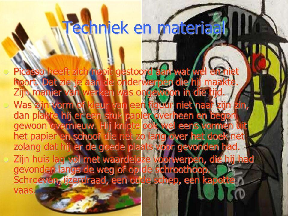 Techniek en materiaal Picasso heeft zich nooit gestoord aan wat wel en niet hoort. Dat zie je aan de onderwerpen die hij maakte. Zijn manier van werke