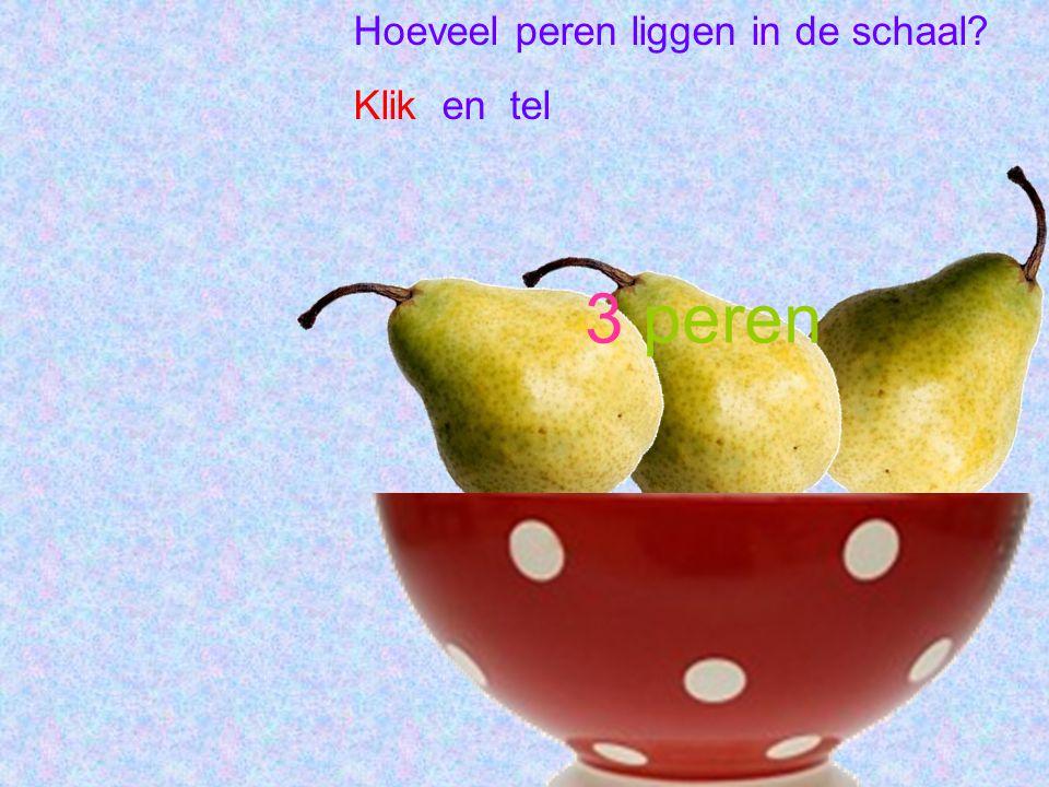 Hoeveel peren liggen in de schaal? Klik en tel 3 peren